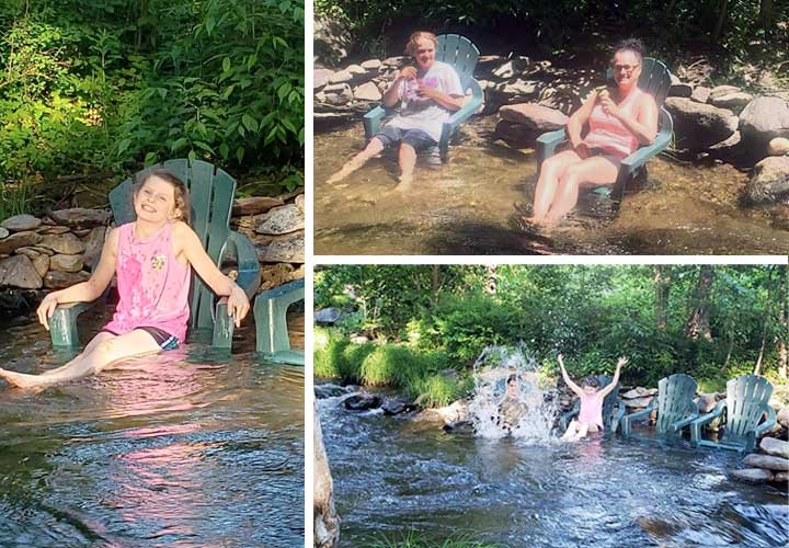 Bring your waterproof sandals! We have chairs right in the brook to keep you cool.